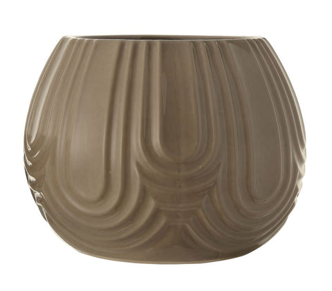 Embossed Stoneware Planter w/ Grey Crackle Finish