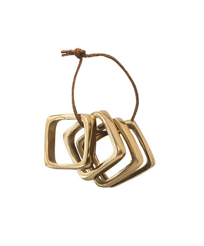 Square Metal Napkin Rings on Leather Tie in Brass Finish design by BD Edition