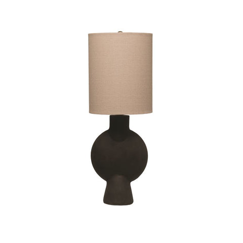 Matte Black Terracotta Table Lamp