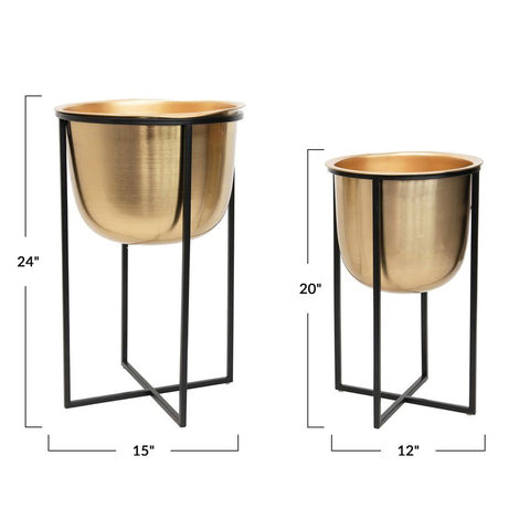 Metal Floor Planters, Gold & Black