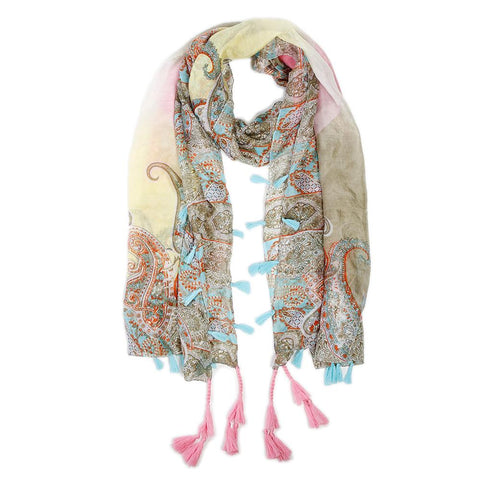 amalfi silk scarf pink turquoisedesign by Pom Pom at Home