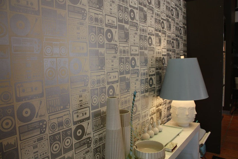 Analog Nights Wallpaper Print in Glimmer design by Aimee Wilder