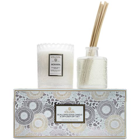 Scalloped Edge Candle & Diffuser Gift Set in Mokara design by Voluspa