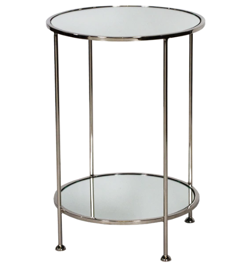 2 Tier Nickel Plated Side Table with Plain Mirror Tops