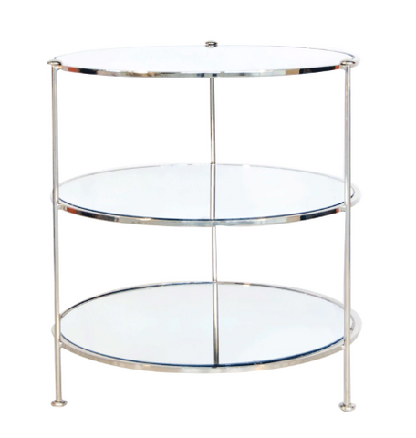 Three Tier Nickel Plated Table with Mirrored Shelves