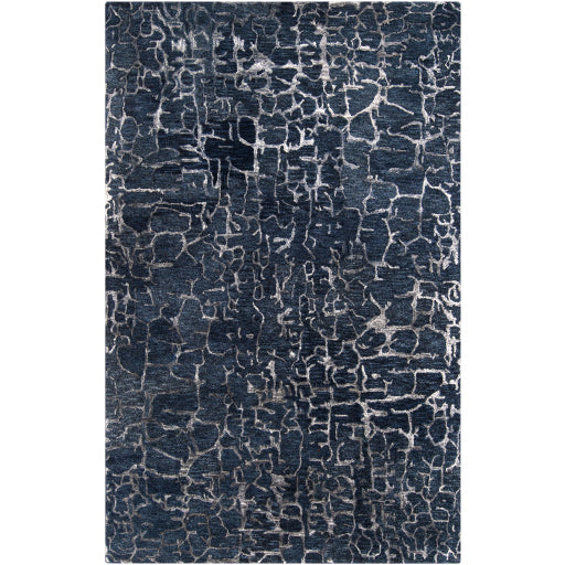 Banshee Collection New Zealand Wool Area Rug in Night Sky and Sapphire Blue design by Surya