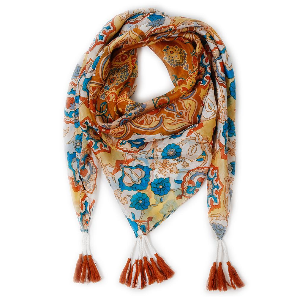 Barcelona Silk Scarf Gold Teal Design By Pom Pom At Home