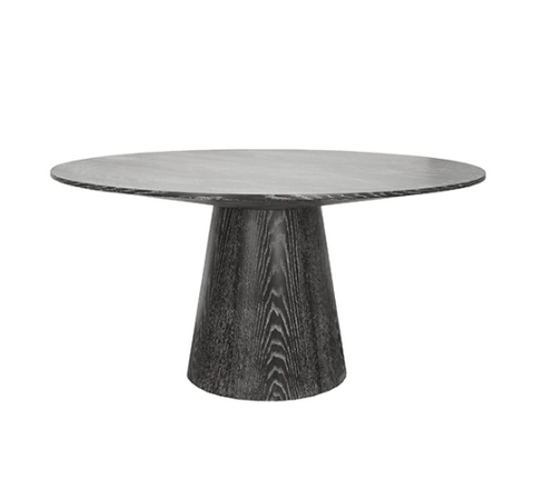 "Round Black Cerused Oak Dining Table Base with 59"" Diameter Tapering Top"
