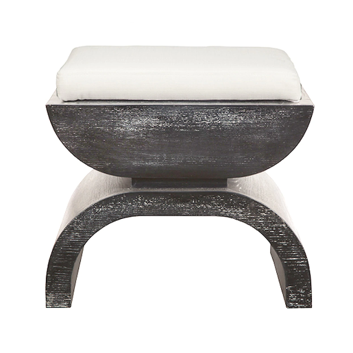 Stool with White Linen Cushion in Various Colors