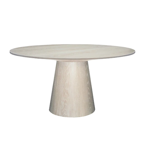 "Round Cerused Oak Dining Table Base with 59"" Diameter Tapering Top"