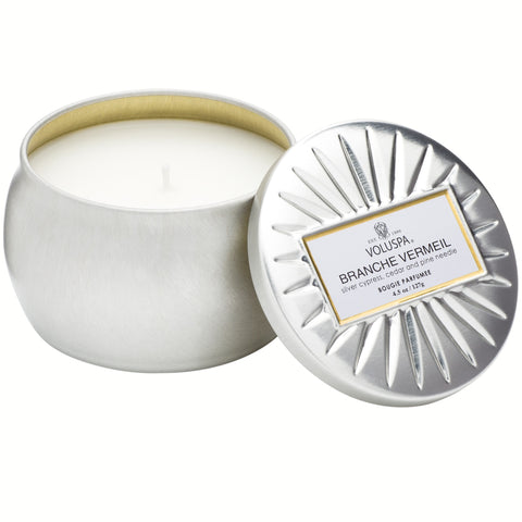 Petite Decorative Tin Candle in Branche Vermeil design by Voluspa