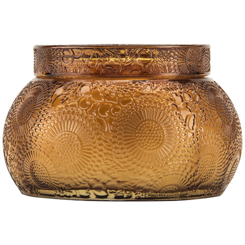 Chawan Bowl 2 Wick Embossed Glass Candle in Baltic Amber design by Voluspa