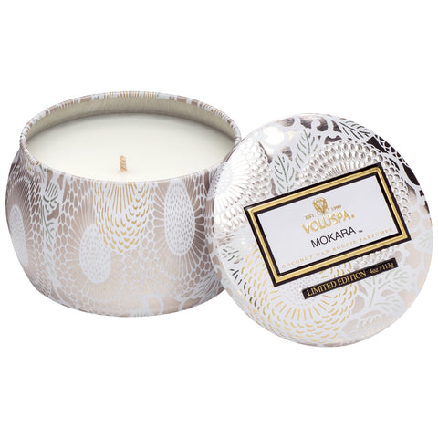 Petite Decorative Tin Candle in Mokara design by Voluspa