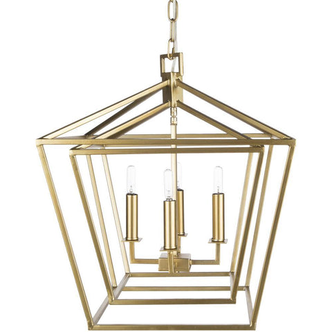 Bellair 4 Light Lantern in Gold