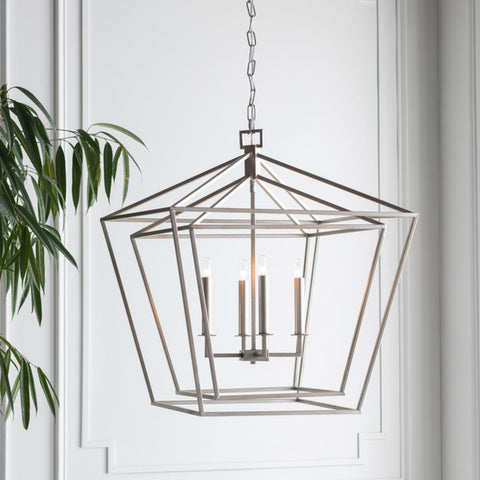 Bellair 4 Light Lantern in Silver