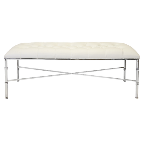 Silver Leafed Bamboo Bench with Tufted Upholstery in Various Colors