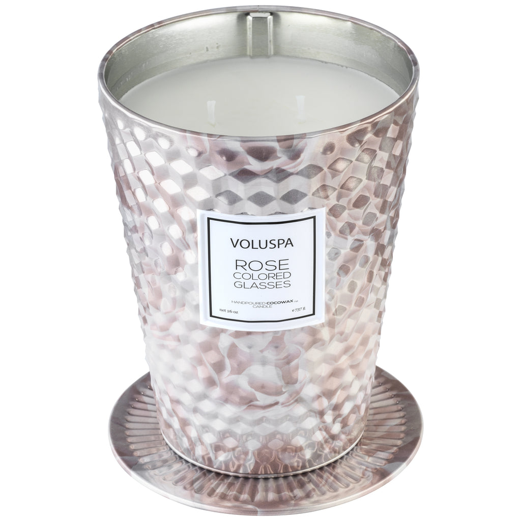 2 Wick Tin Table Candle in Rose Colored Glasses design by Voluspa