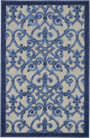 Aloha Indoor-Outdoor Rug in Grey & Blue by Nourison