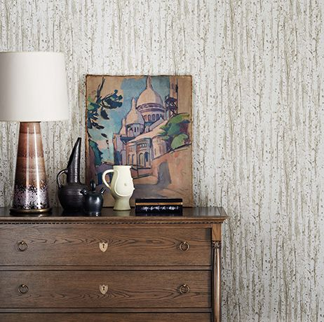 Birch Wallpaper in beige from the Mansard Collection by Osborne & Little