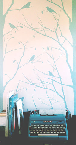 Blackbird Wallpaper in Glass Reversed design by Cavern Home