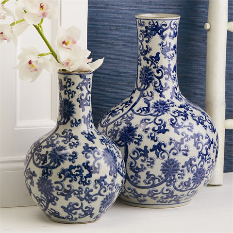 Set of 2 Blue and White Lotus Flower Straight Collar Vases design by Tozai