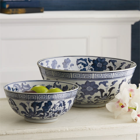 Set of 2 Blue and White Lotus Flower Lianzu Decorative Bowls design by Tozai