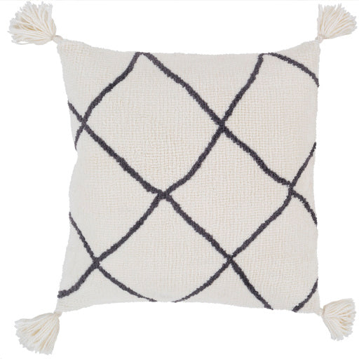 Braith Knitted Square Pillow Cream, Charcoal