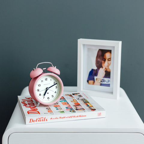 Charlie Bell Echo Alarm Clock in Marshmallow Pink design by Newgate