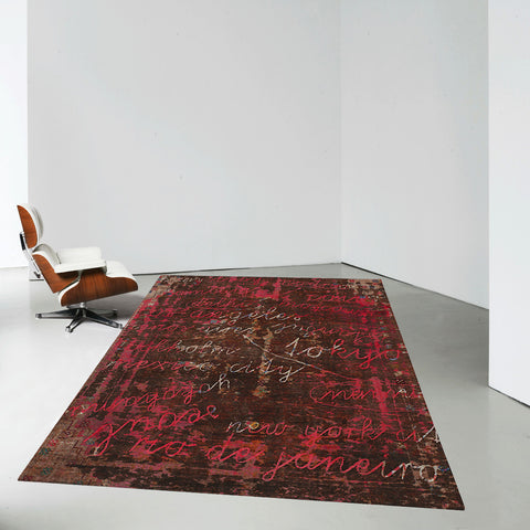 Buenos Aires / Tokyo Hand Knotted Rug in Red design by Second Studio