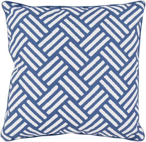 "Basketweave 20"" Outdoor Pillow in Cobalt & Ivory"