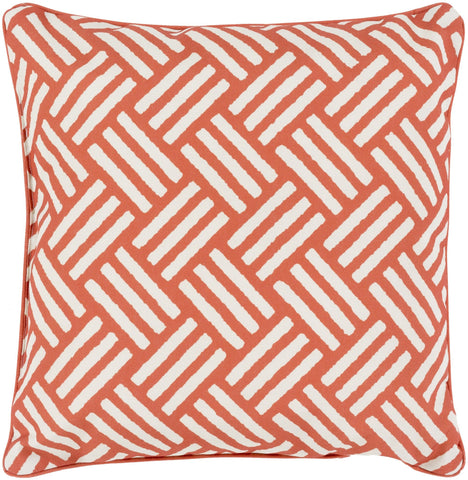 "Basketweave 20"" Outdoor Pillow in Rust & Ivory"