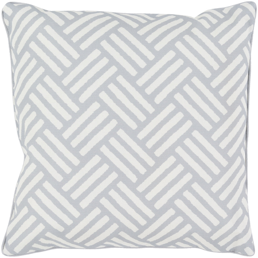 "Basketweave 20"" Outdoor Pillow in Light Grey & White"