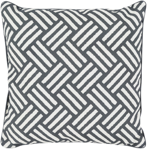 "Basketweave 20"" Outdoor Pillow in Black & Ivory"