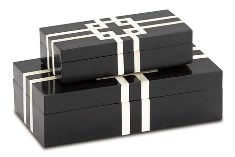 Black and White Lines Boxes - Set of 2