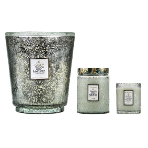 Hearth 5 Wick Glass Candle in French Cade Lavender design by Voluspa