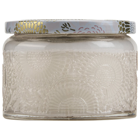 Petite Embossed Glass Jar Candle in Panjore Lychee design by Voluspa
