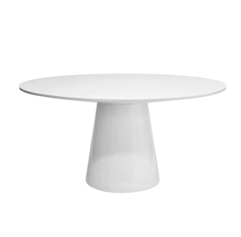 "Round White Lacquer Dining Table Base with 59"" Diameter Tapering Top"