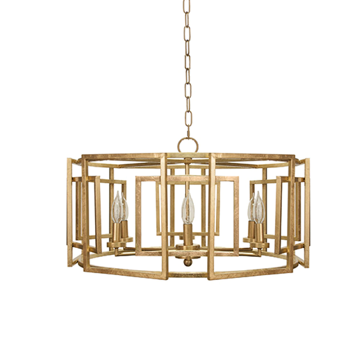 Square Motif Drum Chandelier with 6 Arm Light in Various Colors
