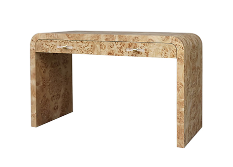 Waterfall Edge Desk in Burlwood