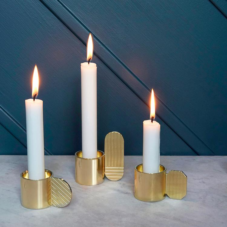 Art Candleholder - Hexagon - Brass