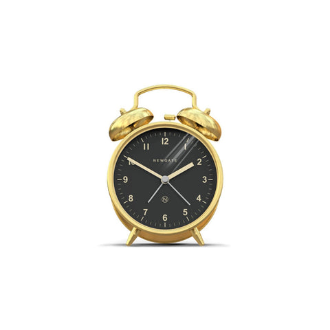 Charlie Bell Alarm Clock in Radial Brass design by Newgate