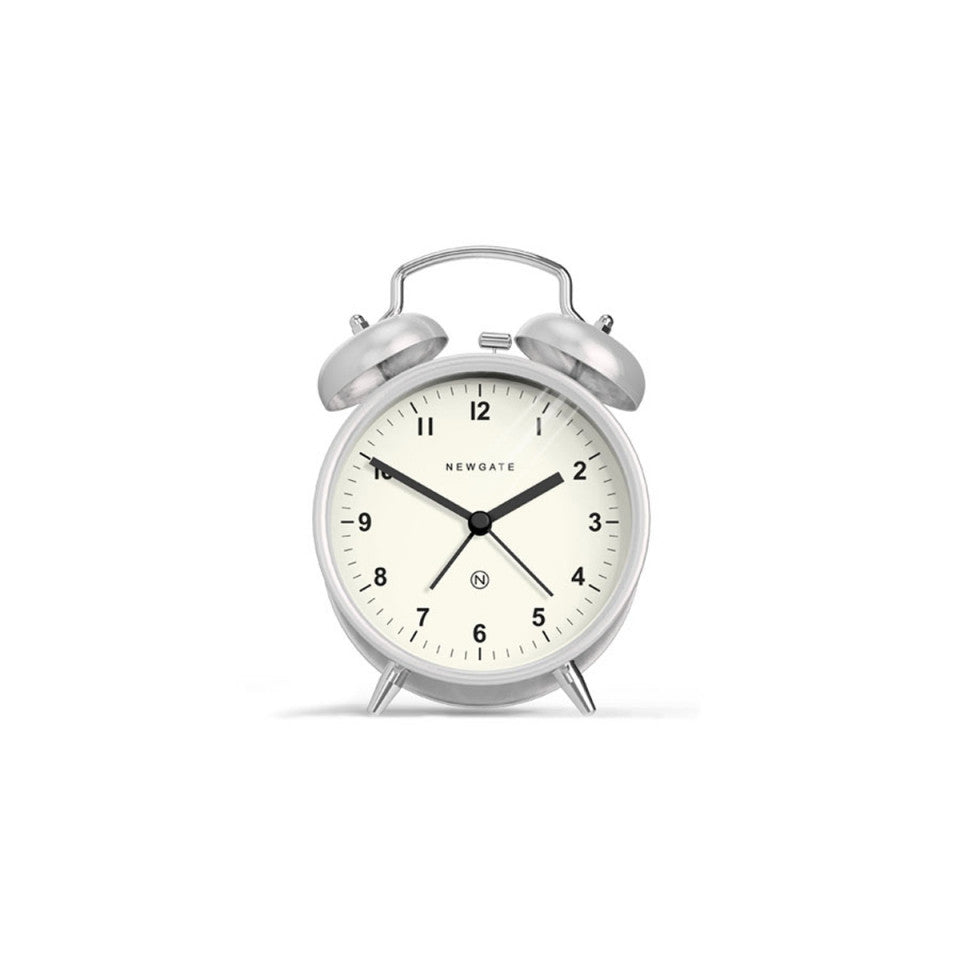Charlie Bell Alarm Clock in Burnished Stainless Steel