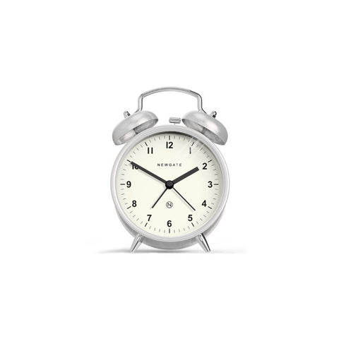 Charlie Bell Alarm Clock in Burnished Stainless Steel design by Newgate