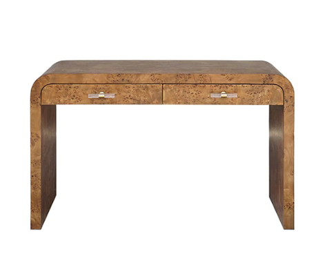 Waterfall Edge Desk in Dark Burlwood