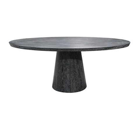 Oval Black Cerused Oak Dining Table