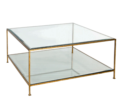 Hammered Gold Leaf Square Coffee Table with Beveled Glass Tops