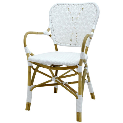 Clemente Arm Chair in Natural & White design by Selamat
