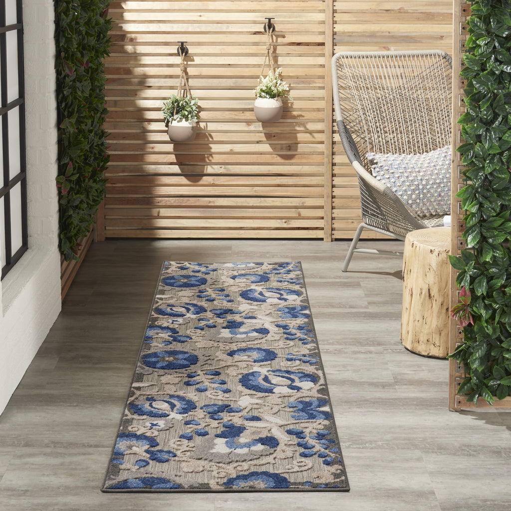 Aloha Indoor-Outdoor Rug in Natural & Blue by Nourison