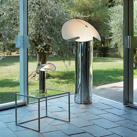 Chiara LED Table Lamp in Aluminum, Dark Grey and Pink Gold