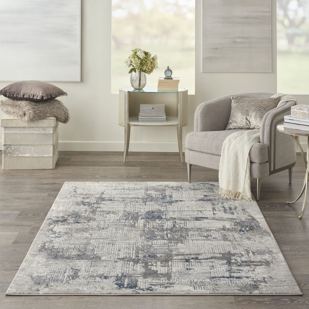 Royal Terrace Rug in Ivory & Blue by Kathy Ireland